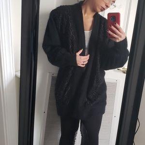 Black Angora Beaded cardigan jacket